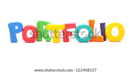 PORTFOLIO - webwords of plasticine letters standing isolated on white - stock photo