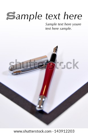 Portfolio with feather and white bottom with example texts - stock photo