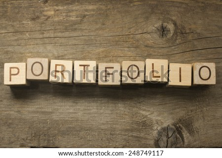 portfolio word in vintage wooden blocks - stock photo