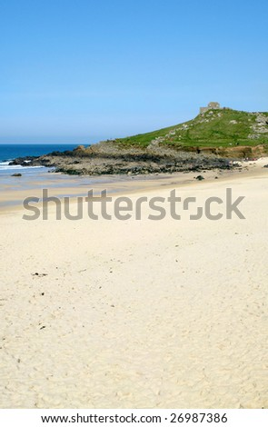 Porthmeor beach in St. Ives, Cornwall UK. - stock photo