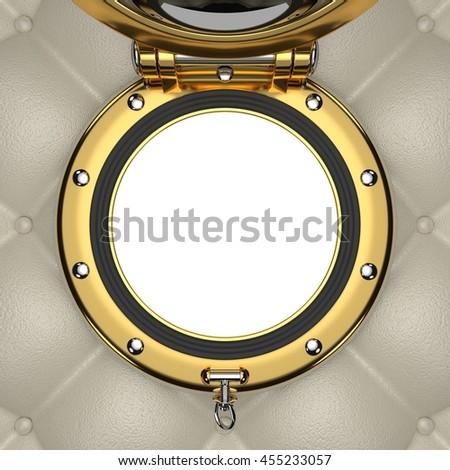 Porthole of the luxurious yacht, 3D illustration - stock photo