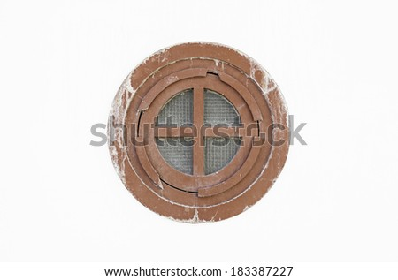 Porthole on a ship, detail of a window in a cabin of a boat - stock photo
