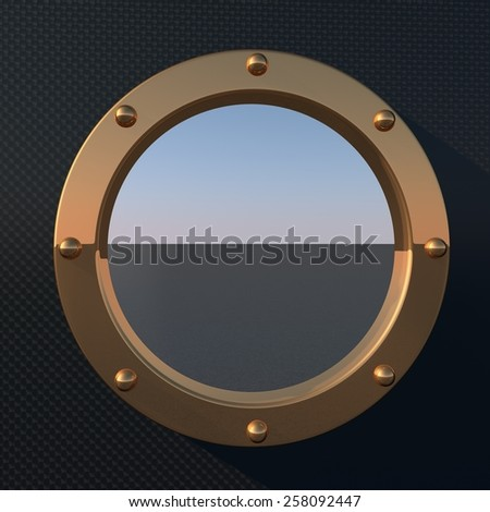 Porthole over sea landscape, square image, 3d render - stock photo