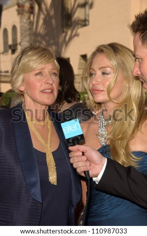 Portia de Rossi and Ellen DeGeneres arriving at the 59th Annual Primetime Emmy Awards. The Shrine Auditorium, Los Angeles, CA. 09-16-07 - stock photo