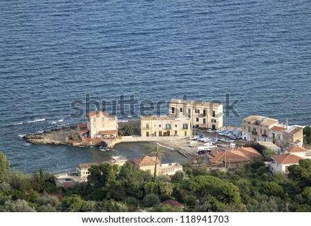 Porticello panoramic view, near Palermo, Sicily - stock photo