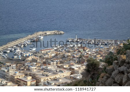 Porticello panoramic view, near Palermo, Sicily - stock photo