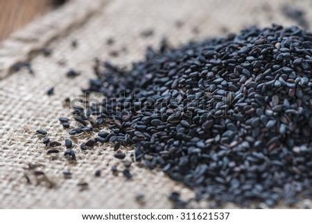 Portion of black Sesame (detailed close-up shot) - stock photo