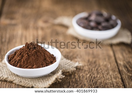Portion of Cocoa powder (selective focus) as detailed close-up shot - stock photo