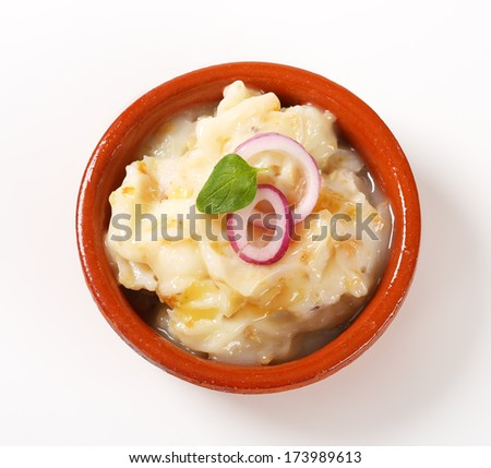 Portion of fresh lard with onion - stock photo