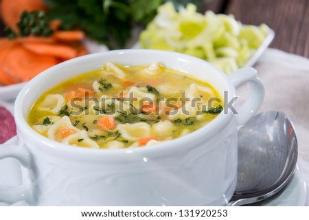 Portion of fresh Noodle Soup - stock photo
