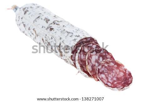 Portion of fresh Salami isolated on white background - stock photo