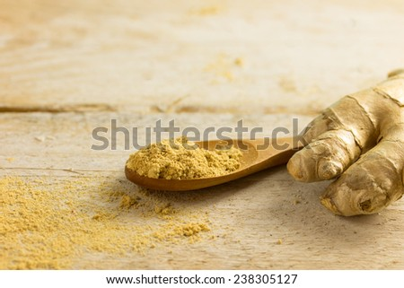 Portion of Ginger Powder (detailed close-up shot) - stock photo