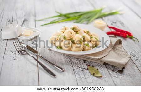 Portion of ravioli on a white plate with knife and fork. Green salad, herbs, peppers and green onions. - stock photo