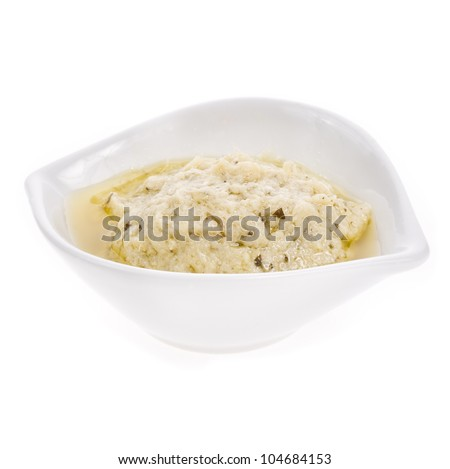 portion of sauce  asparagus  in a white bowl, isolated on white background - stock photo