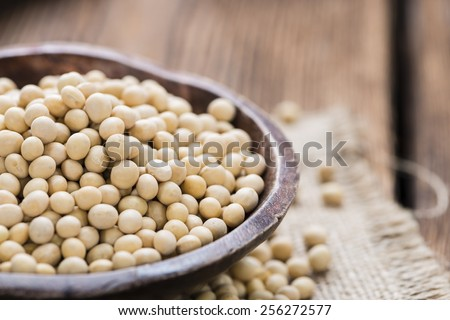 Portion of Soy Beans (detailed close-up shot) - stock photo