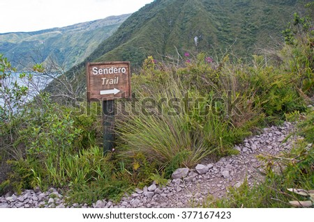 Portion of the trail that goes around the Cuicocha lake and volcanic crater, Ecuador, South America. - stock photo