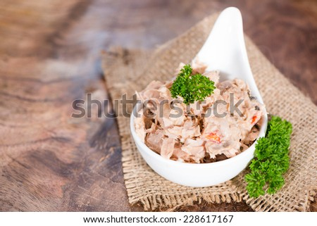 Portion of Tuna salad in a small bowl (close-up shot) - stock photo