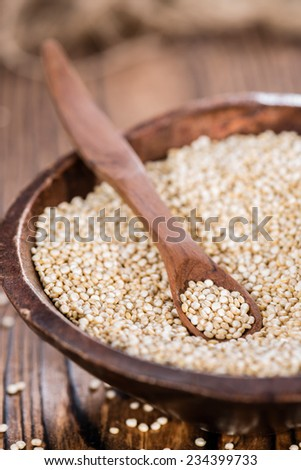 Portion of uncooked Quinoa (detailed close-up shot) - stock photo