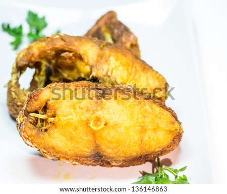 Portions of deep fried red snapper fish. - stock photo