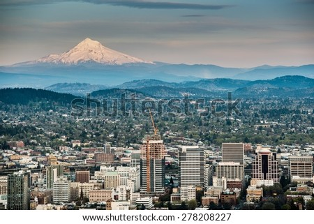 Portland and Mount Hood Panorama. Portland, Oregon, USA. - stock photo