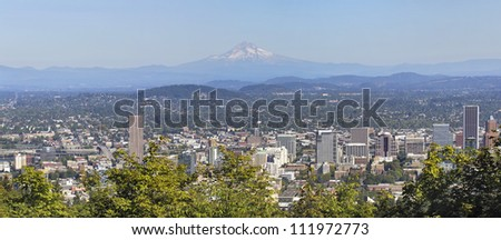 Portland Downtown Cityscape and Landscape with Mount Hood and Trees Panorama - stock photo