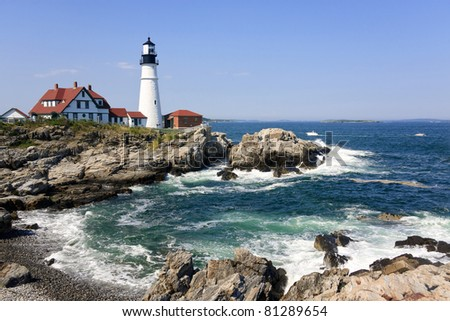 Portland Head Light in Maine, New England - stock photo