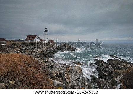 Portland Head Light on the Maine Coast - stock photo