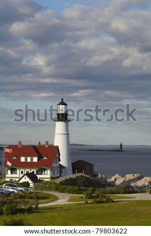Portland Head Lighthouse built in 1791 - Cape Elizabeth, Maine, United States - stock photo