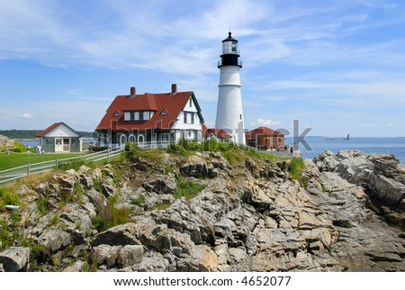 Portland Head lighthouse in Maine, USA, close up view - stock photo