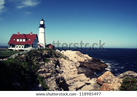 Portland Head Lighthouse located in Portland Maine - stock photo