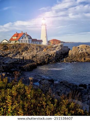 Portland Head Lighthouse with bright beam - stock photo