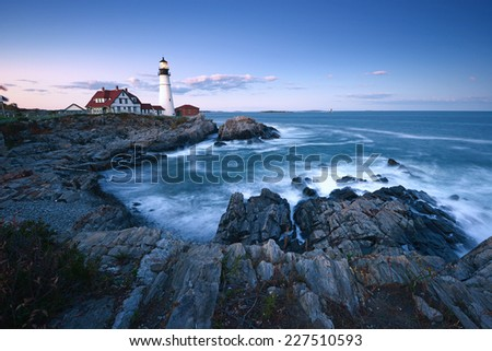 portland headlight in an evening during sunset - stock photo