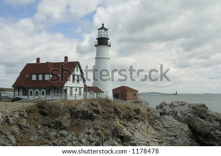 Portland Headlight lighthouse at Fort Williams in Cape Elizabeth, Maine - stock photo