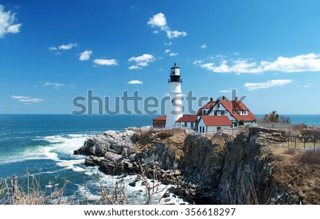 Portland Headlight lighthouse in Cape Elizabeth, Maine - stock photo