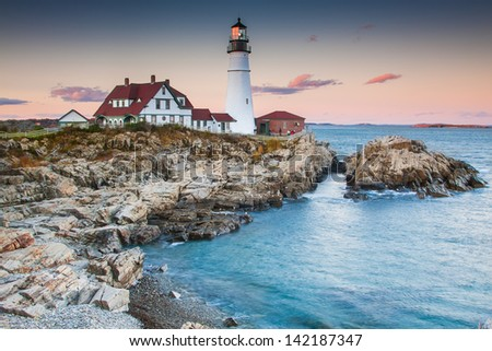Portland lighthouse in the evening, Maine - stock photo