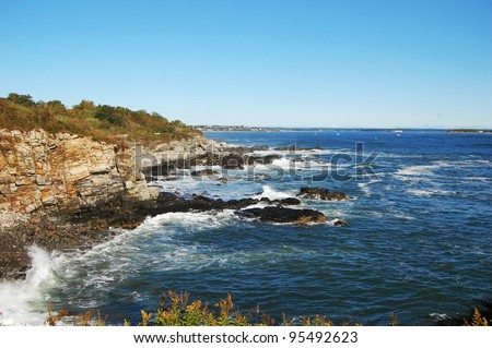 Portland, Maine. Wave at Rocky Seashore in Portland, Maine, USA - stock photo