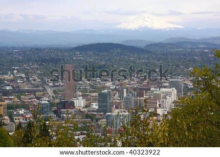 Portland OR. panorama - stock photo