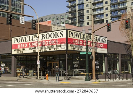 Portland, OR, USA - March 7, 2015: Powell's city of books is the worlds largest used and new bookstore - stock photo