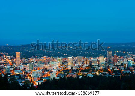 Portland Oregon at night  - stock photo