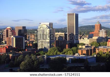 Portland Oregon at sunset. - stock photo