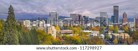 Portland Oregon Downtown City Skyline with Mount Hood in the Colorful Fall Panorama - stock photo