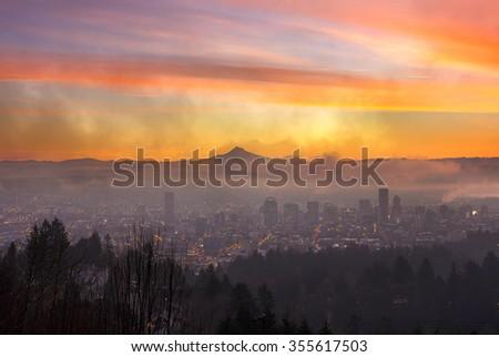 Portland Oregon Downtown Skyline Cityscape on a Foggy Morning at Dawn - stock photo