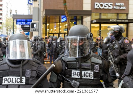 PORTLAND, OREGON - NOVEMBER 17, 2011: Portland Police in Riot Gear Closeup in Downtown Portland, Oregon during a Occupy Portland Protest Against Banks on the first anniversary of Occupy Wall Street - stock photo