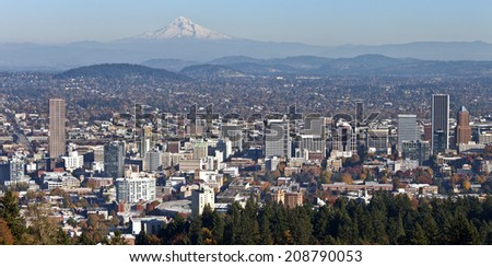 Portland Oregon panorama in Autumn from Pittock mansion. - stock photo