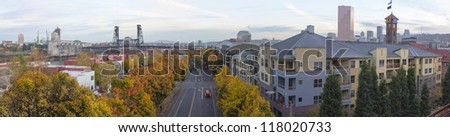 Portland Oregon Skyline and Steel Bridge by Union Station in Autumn Panorama - stock photo