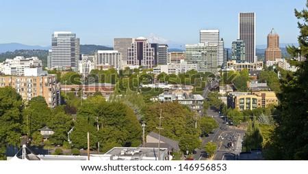 Portland Oregon skyline panorama from vista bridge eastbound. - stock photo