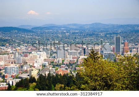 Portland Skyline and Mount Hood - stock photo
