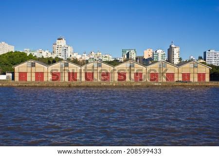 Porto Alegre Port view - Rio Grande do Sul - Brazil - stock photo