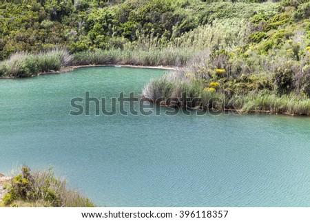 Porto Azzurro, the small lake of Terranera, Elba, Tuscany, Italy, Europe - stock photo