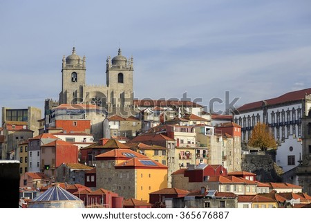Porto cathedral and house roofs from viewpoint, Portugal